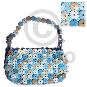 Philippines blue and natural coco rings native bags