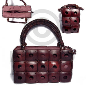 Handmade reddish brown square coco native bags