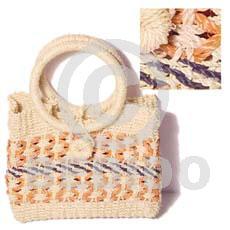 Natural abaca weave natural peach bag l=8 native bags