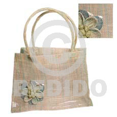 Native sinamay green tones flower plastic native bags
