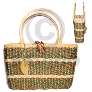 Native rattan handle with abaca large native bags