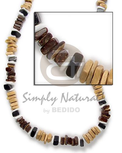 Wholesale sq cut brown black nat combination white natural earth color necklace