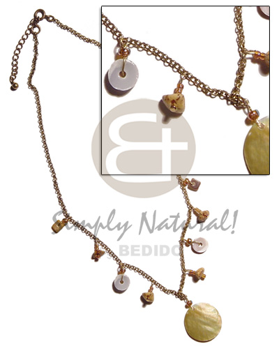 Teens antique chain dangling shells natural earth color necklace
