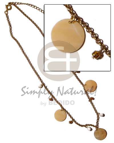 Philippines dangling 20mm round melo shell natural earth color necklace