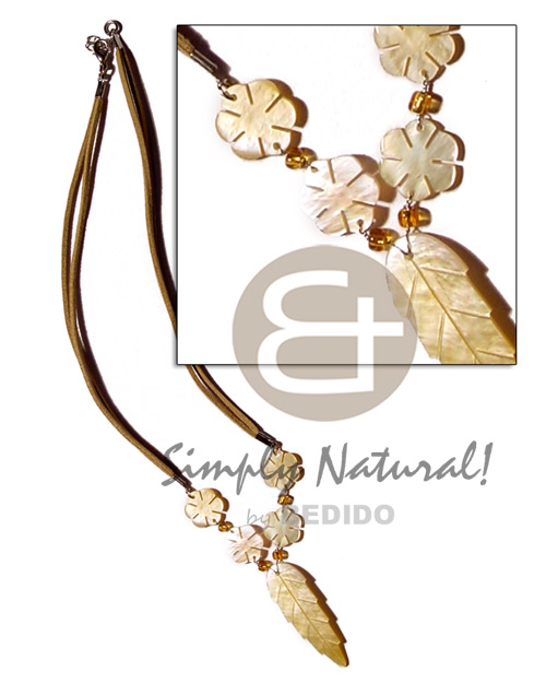 Handmade mop leaf flowers on natural earth color necklace