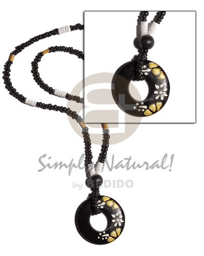 Handmade 2-3mm black coco pokalet. natural earth color necklace