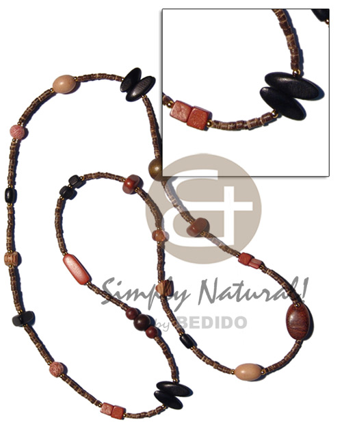 Philippine 36 in. 2-3mm coco heishe natural earth color necklace