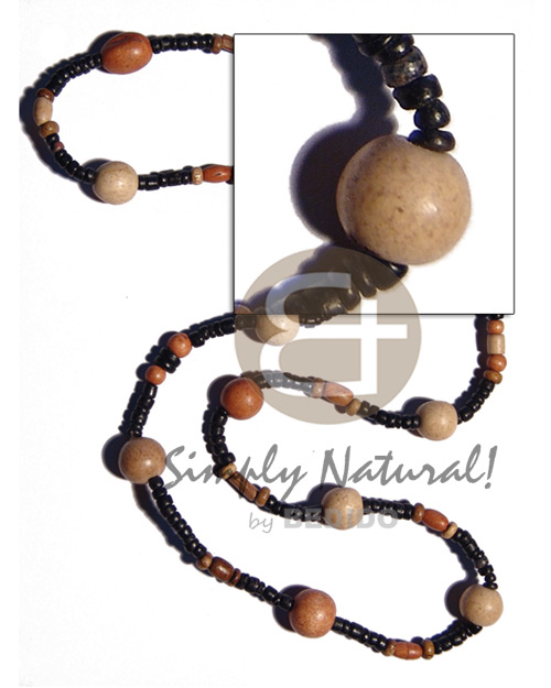 "Wholesale ""kalandrakas""- asstd. wood beads per natural earth color necklace"