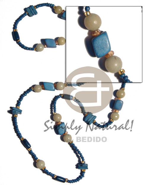 Fashion blue wood beads coco natural earth color necklace