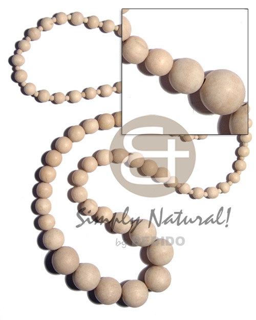 Philippine graduated natural white wood beads natural earth color necklace