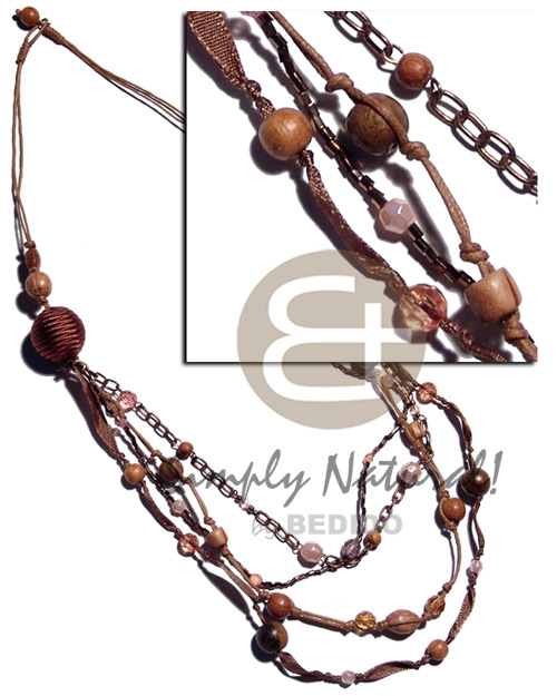 Ladies brown tones 2 layers wax natural earth color necklace