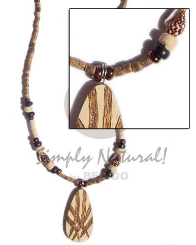 Fashion 2-3 heishe tiger natural earth color necklace