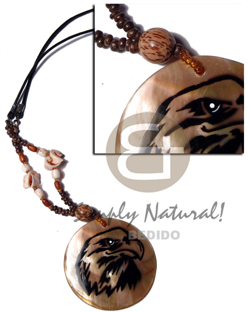 Philippine 50mm brownlip pendant handpainted natural earth color necklace