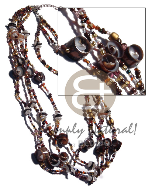 Natural 4 layers glass beads natural earth color necklace