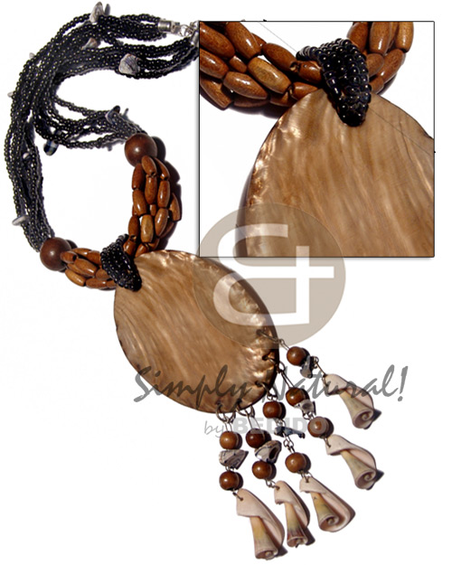 Native 5 layers black glass beads natural earth color necklace