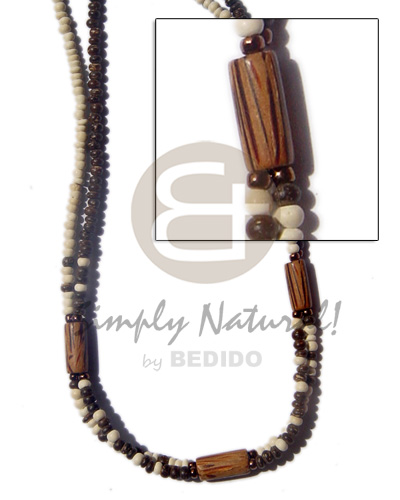 Handmade 2 rows 2-3mm coco pokalet natural earth color necklace