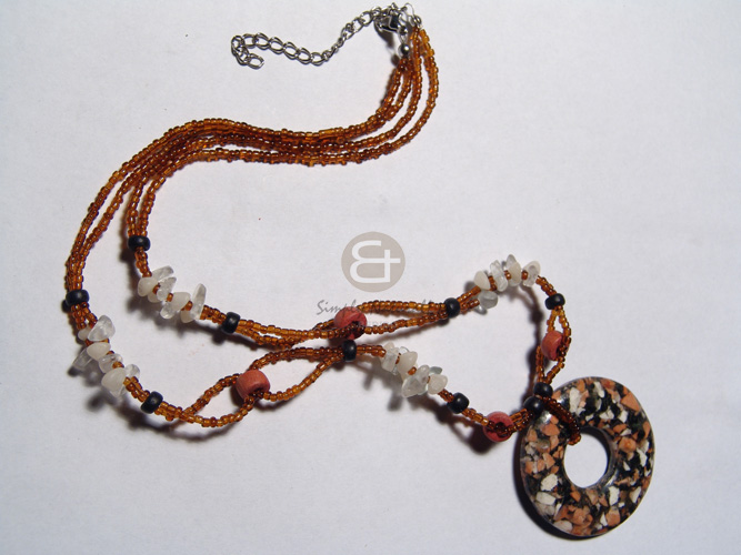Fashion 6mm natural wood beads natural earth color necklace