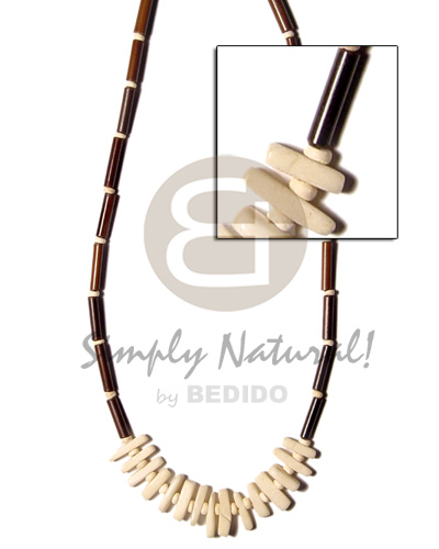 Philippine eureka bamboo tube coco natural earth color necklace