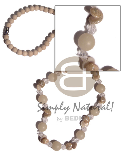 Wholesale 6mm bleached nat wood beads natural earth color necklace