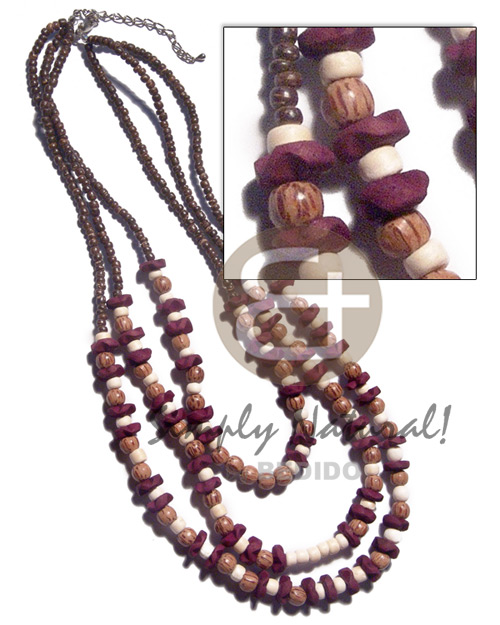 Ethnic 3 graduated rows of 2-3mm natural earth color necklace