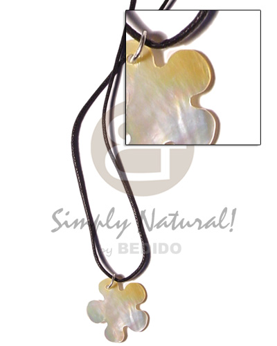 Ethnic cord 30mm mop flower natural earth color necklace
