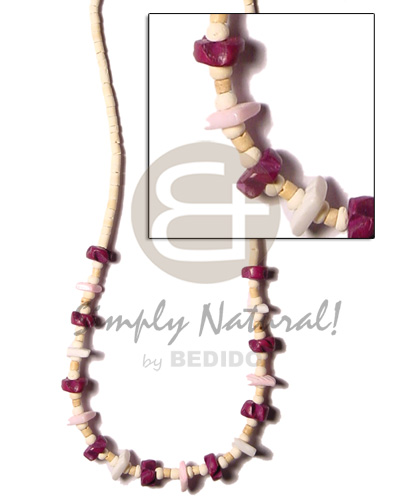 Handmade 2-3 coco heishe bleach natural earth color necklace