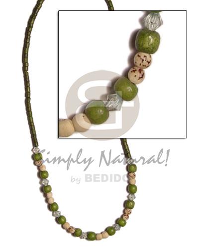 Ethnic 2-3 coco heishe moss green natural earth color necklace