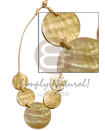 Natural 5 round 50mm natural earth color necklace