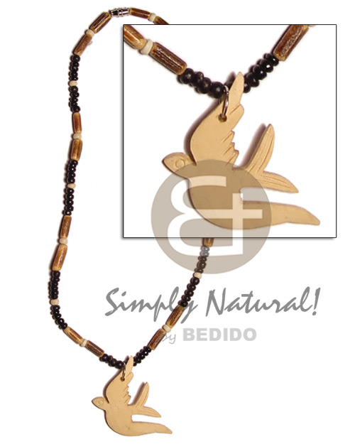 Ladies 2-3mm black bleach natural earth color necklace
