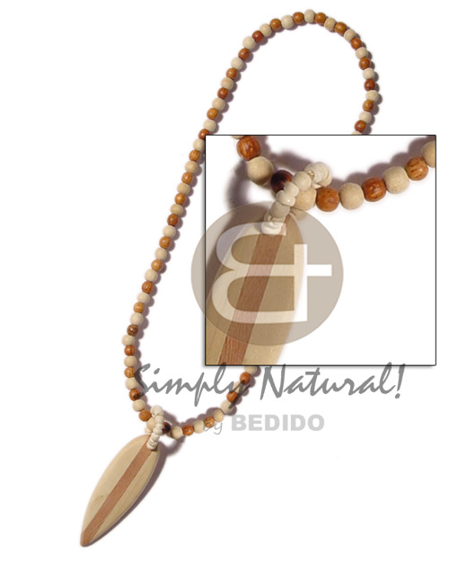 Philippines bayong and natural wood beads natural earth color necklace