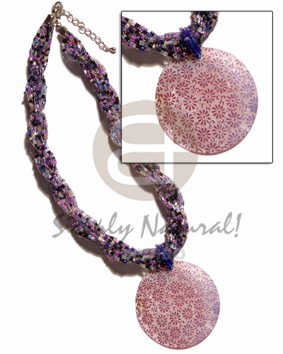 Ethnic 12 rows lavender mixed twisted necklace with pendant