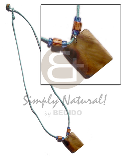 Native 30mm rectangular brownlip wood necklace with pendant