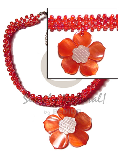 Fashion red glass beads flat choker necklace with pendant