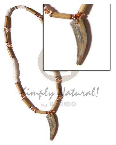 Cebu bamboo white clam heishe necklace with pendant
