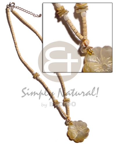 Ethnic 2-3mm coco heishe natural necklace with pendant