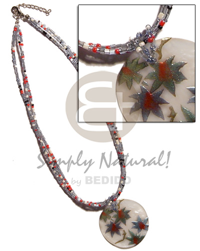 Philippines 3 rows glass beads necklace with pendant