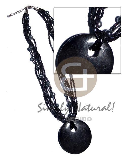 Ladies 6 rows black glass beads necklace with pendant