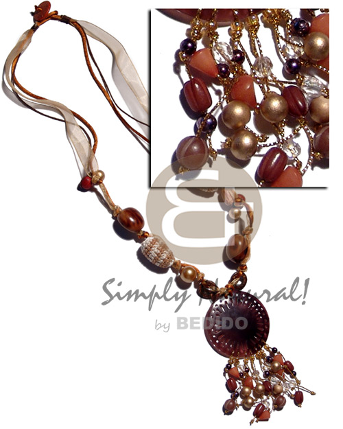 Fashion wrapped wood beads rubber seeds necklace with pendant