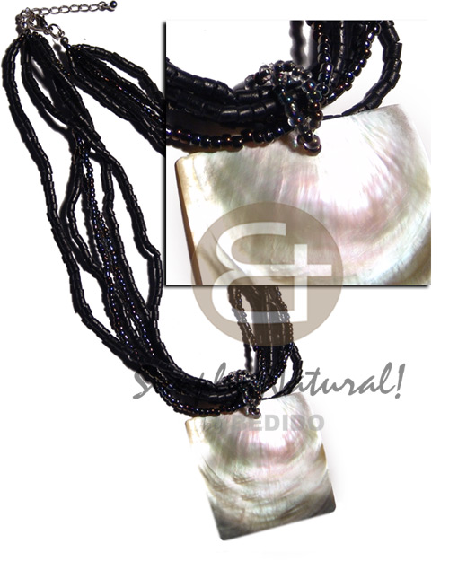 Cebu 6 layers black 2-3mm coco necklace with pendant
