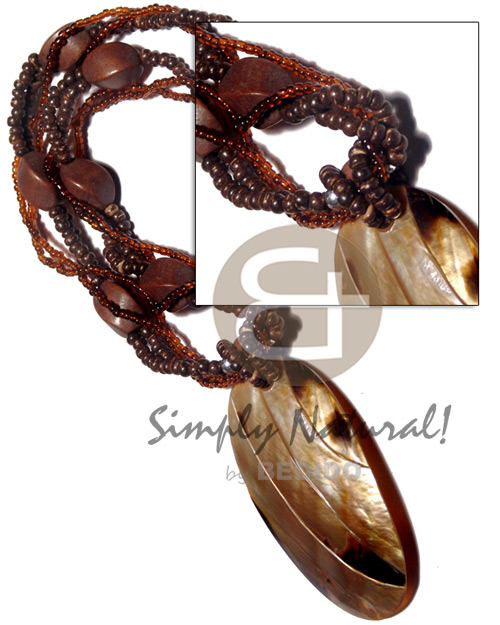 Cebu 4 layers intertwined brown glass necklace with pendant