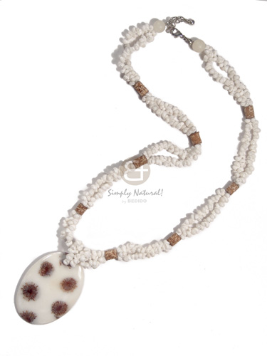 Fashion 2 layers white mongo shells necklace with pendant
