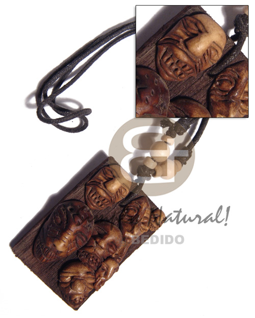Philippines clay tribal mask on 60mmx40mm necklace with pendant