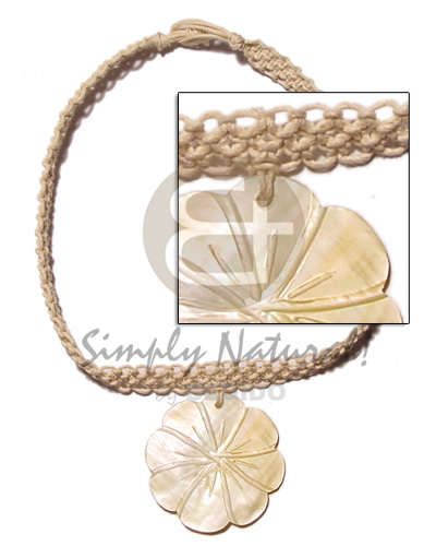 Ladies macrame choker 40mm mop necklace with pendant