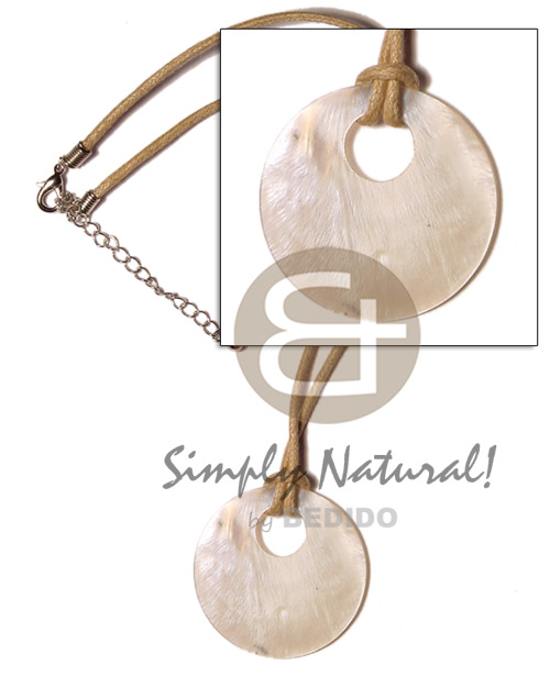 Philippine round hammershell 45mm on wax necklace with pendant