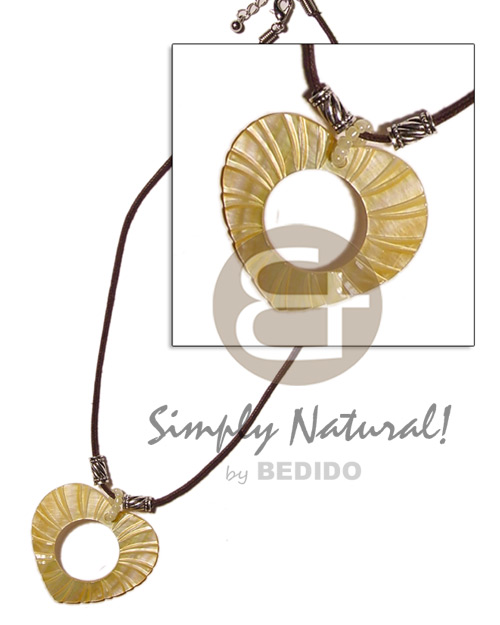 Native heart wheel mop groove necklace with pendant