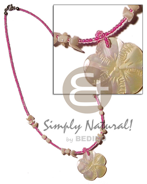 Teens pink glass beads shell pastel color necklace
