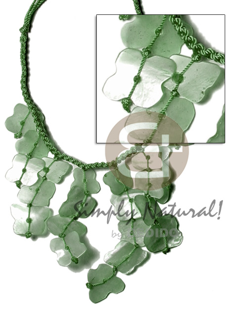 Cebu subdued green macrame dyed pastel color necklace