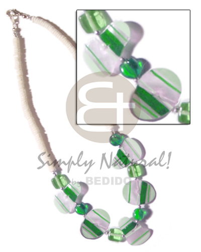 Natural painted green striped capiz pastel color necklace