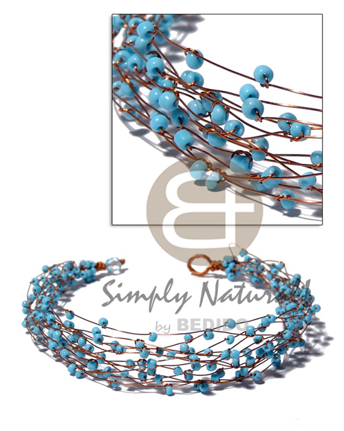 Ladies 13 rows copper wire choker pastel color necklace