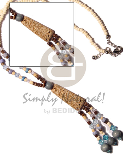 Cebu 3 tassle 2-3 coco and pastel color necklace